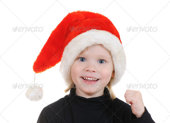 The child in a hat santa claus - Stock Photo - Images
