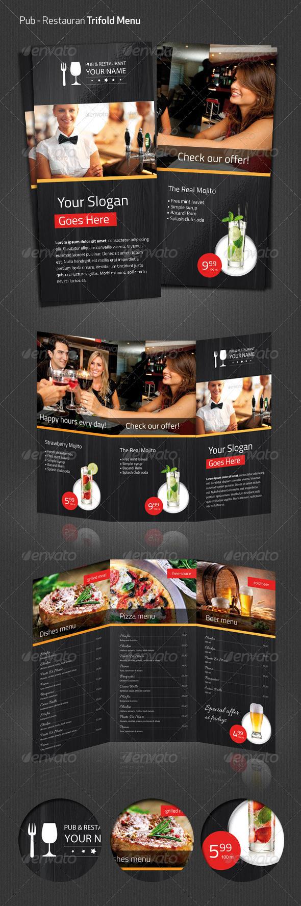 GraphicRiver Pub Restaurant Menu Flyer 5313030