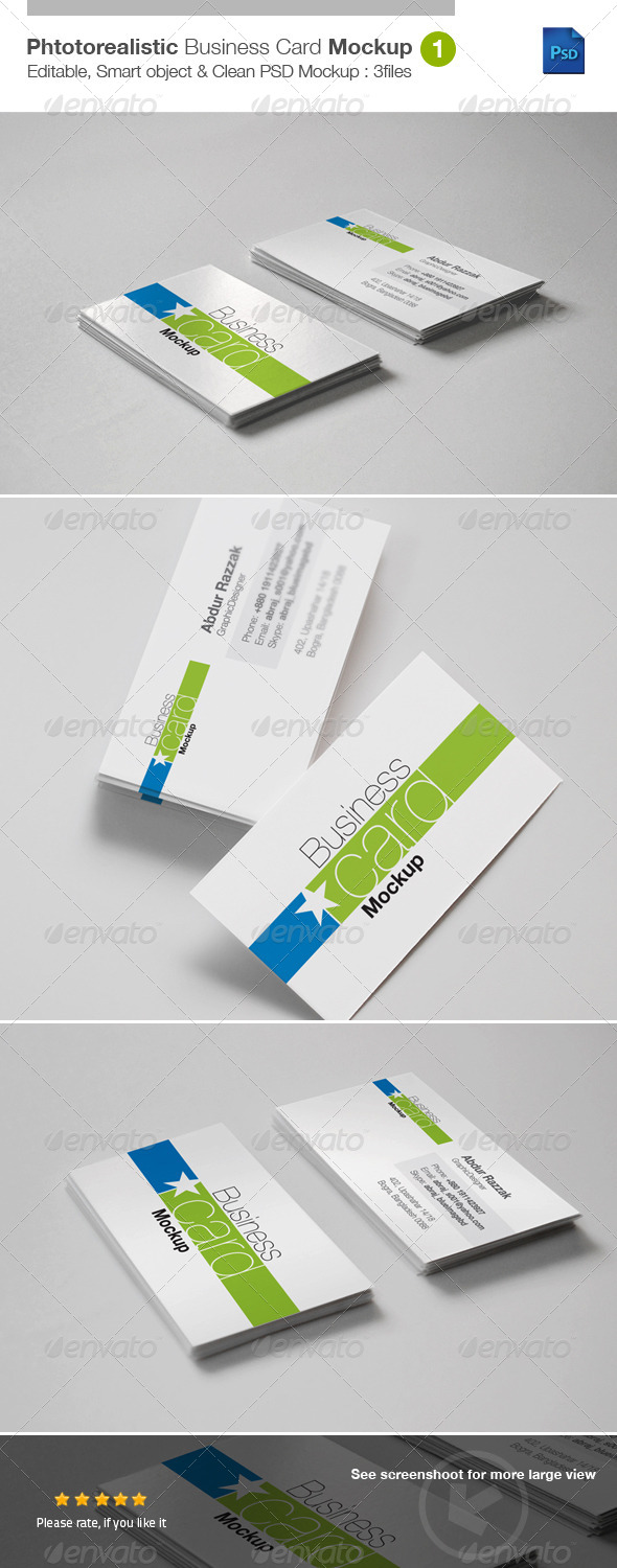 GraphicRiver Photorealistic Business Card Mockup v1 5314969