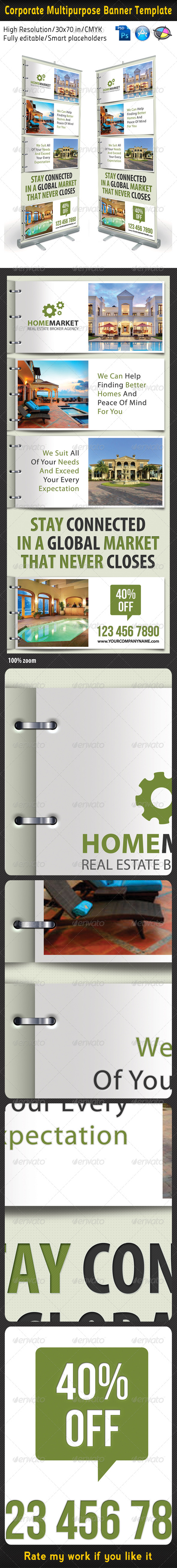 Corporate Real Estate Banner Template - Signage Print Templates