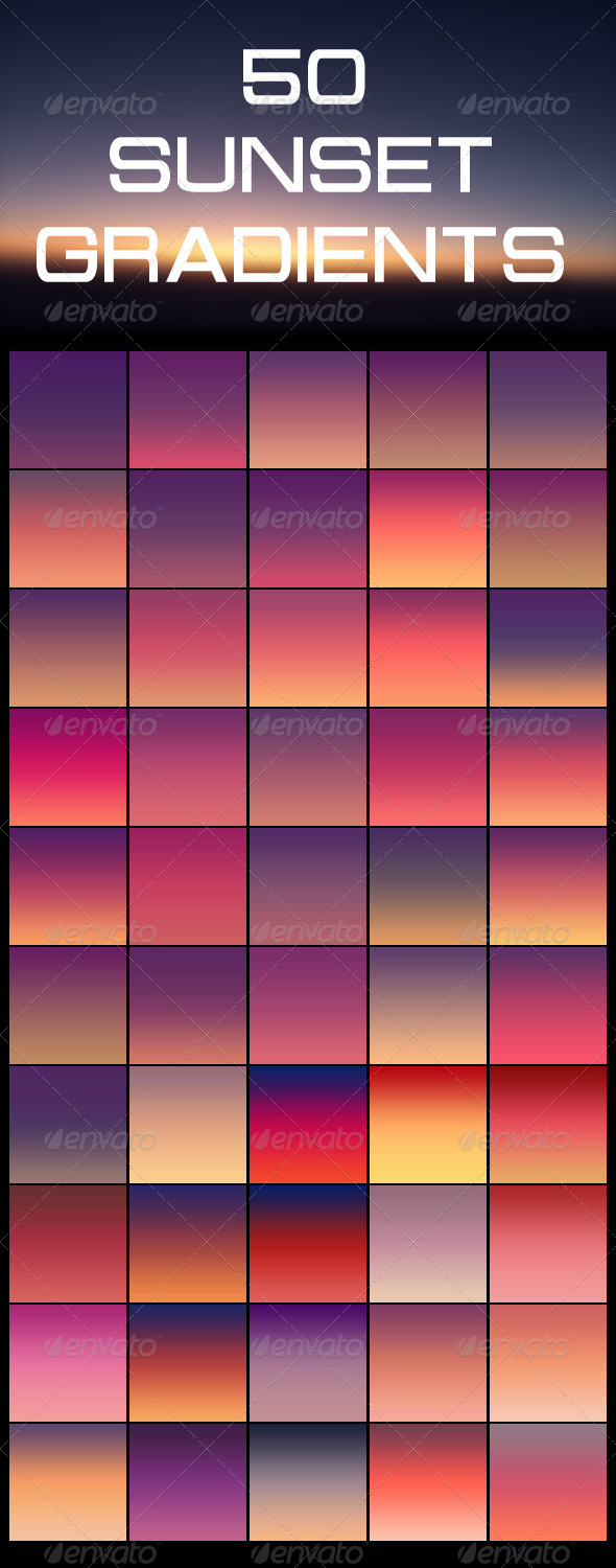 GraphicRiver 50 Sunset Gradients 5315745