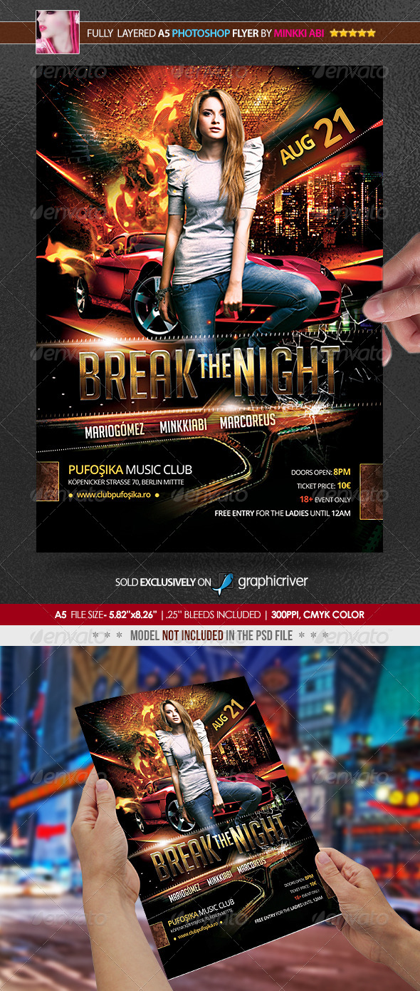 Break The Night Poster/Flyer - Clubs & Parties Events