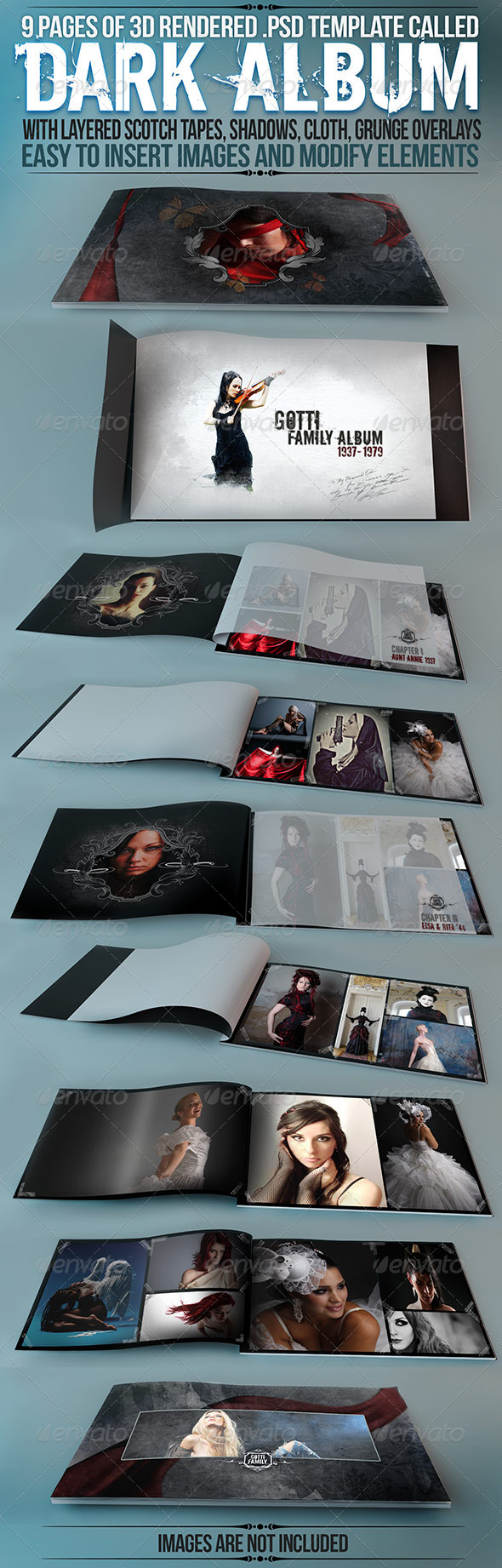 "Album / Catalog Mockup ""Dark Album"" - Product Mock-Ups Graphics"