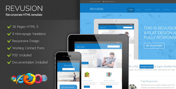 Revusion - Flat Corporate HTML Template - Corporate Site Templates