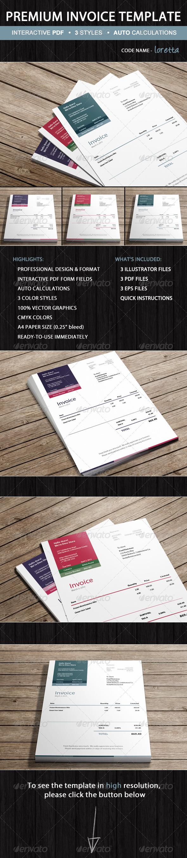 GraphicRiver Premium Invoice Template Loretta Ready-to-Use 5245531