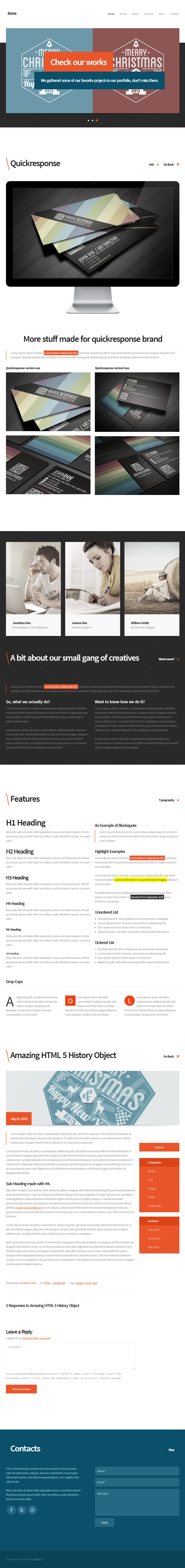 Ilone - One Page WordPress Theme - Screenshot 3. Front page with a blog post and a project open.