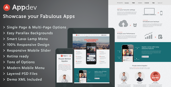 ThemeForest Appdev Mobile App Showcase WordPress Theme 5307269