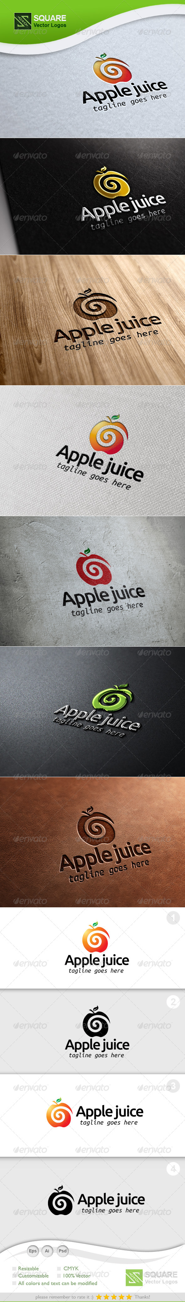 Apple Juice Vector Logo Template - Food Logo Templates