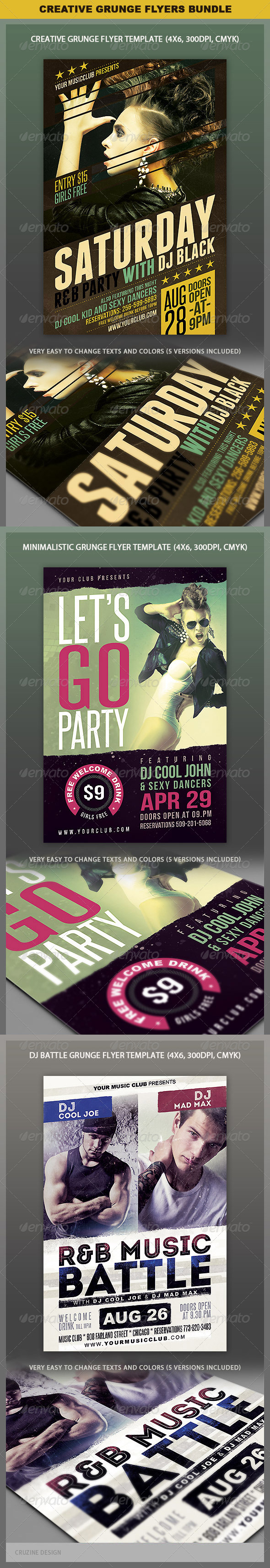 Creative Grunge Flyer Bundle - Clubs & Parties Events