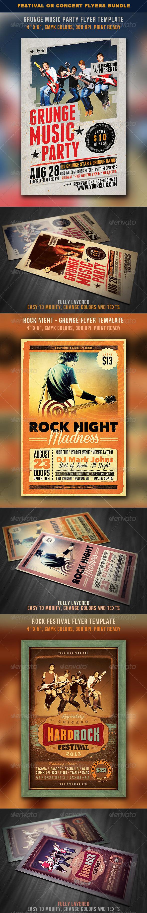 GraphicRiver Festival or Concert Flyers Bundle 5320718
