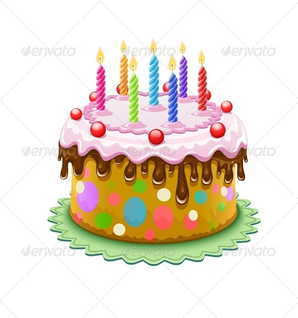 GraphicRiver Birthday Cake with Burning Candles 5321468