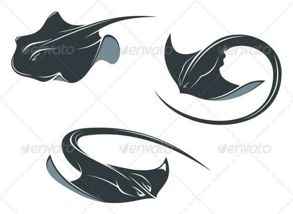 GraphicRiver Stingray Fish Mascots 5324801
