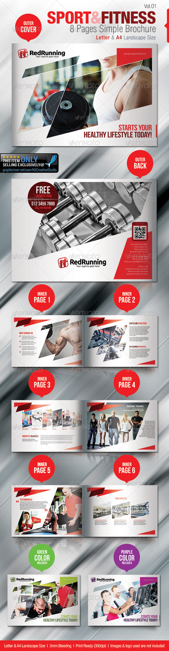 GraphicRiver Fitness & Sport 8 Pages Simple Brochure 5325130