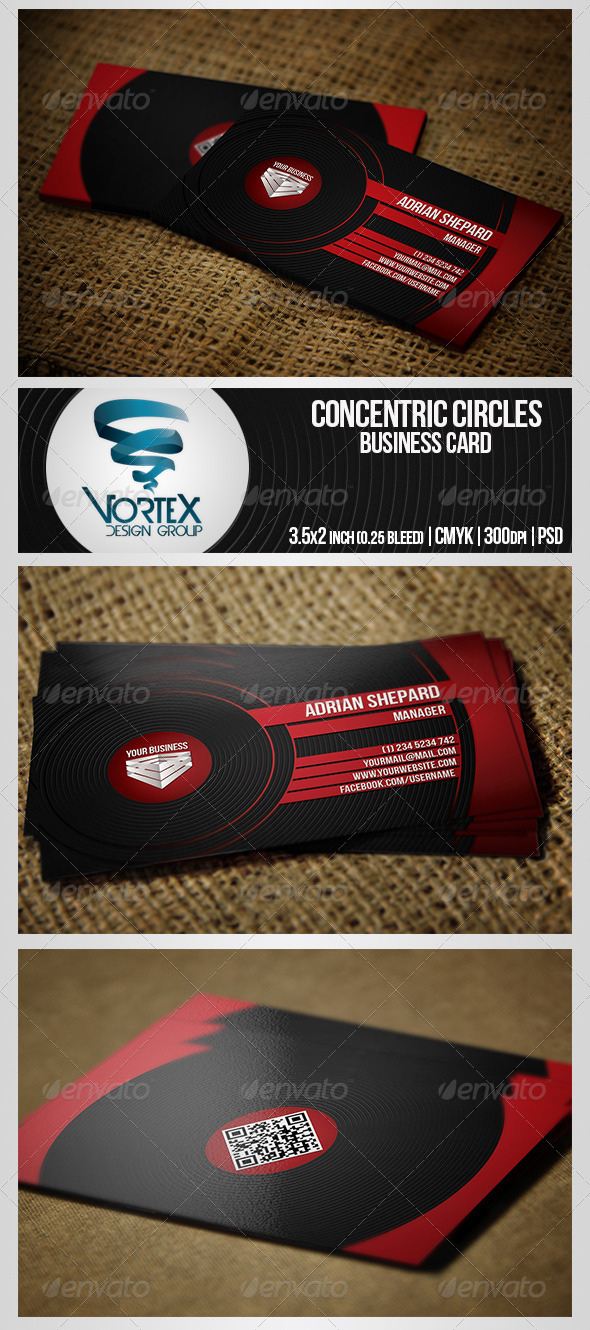 GraphicRiver Concentric Circles Business Card 5326099