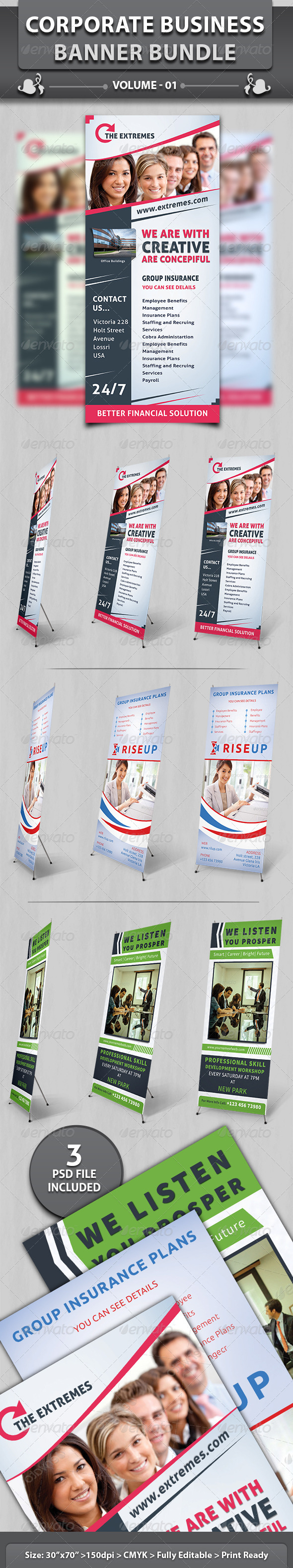 Corporate Business Banner | Bundle 1 - Signage Print Templates