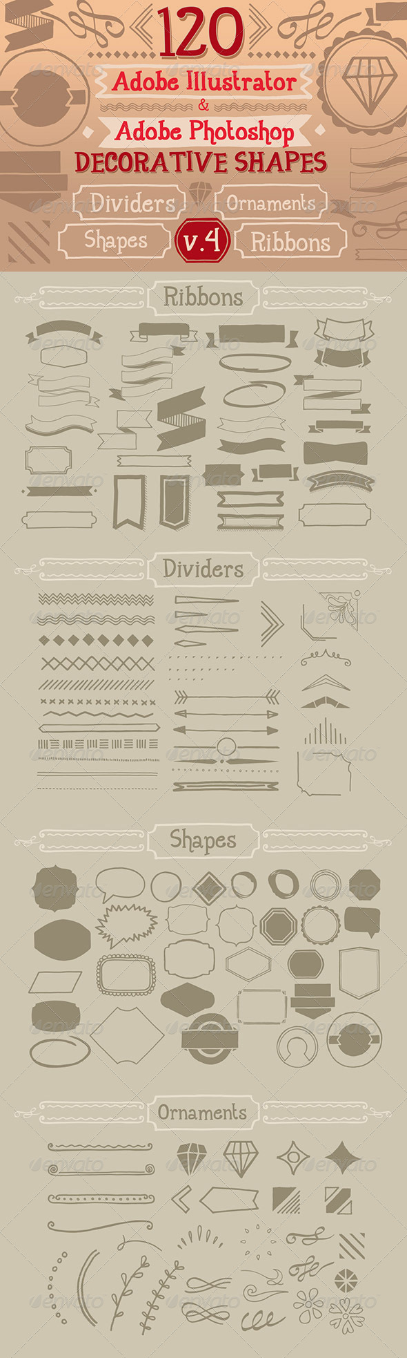 GraphicRiver 120 Handwritten Decorative Shapes 04 5326690