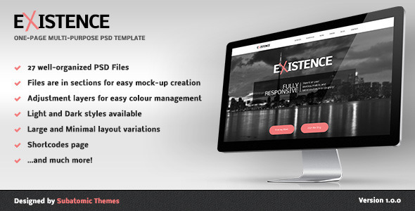 ThemeForest Existence One-Page Multi-Purpose PSD Template 5328175