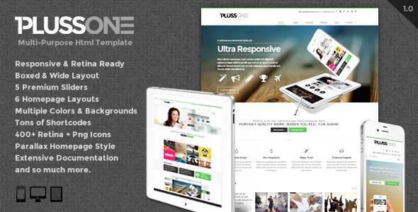 ThemeForest PlussOne Responsive Multi-Purpose Html5 Template 5328469