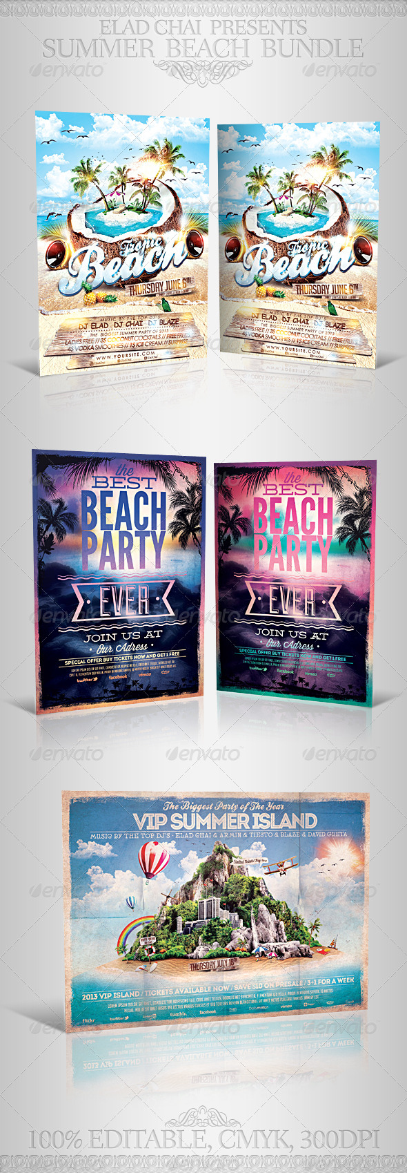 GraphicRiver Summer Beach Party Flyer Bundle 5330375