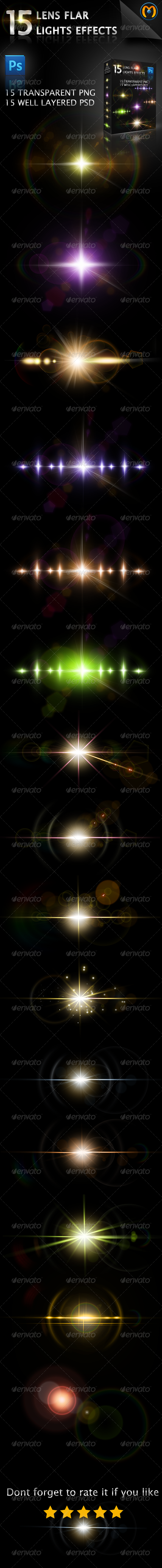 15 Lens Flares V.1 - Decorative Graphics