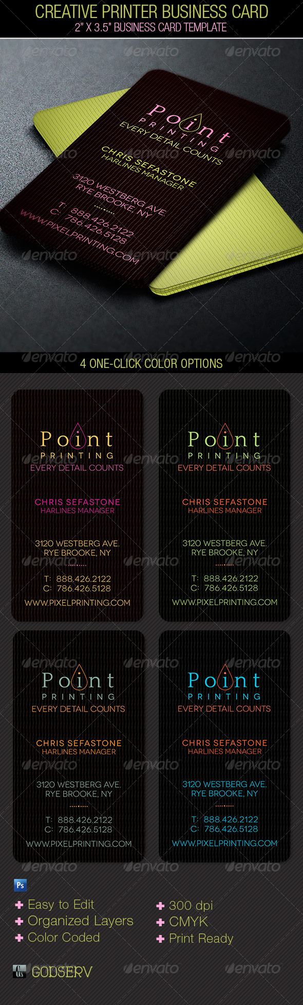 GraphicRiver Creative Printer Business Card Template 5330504