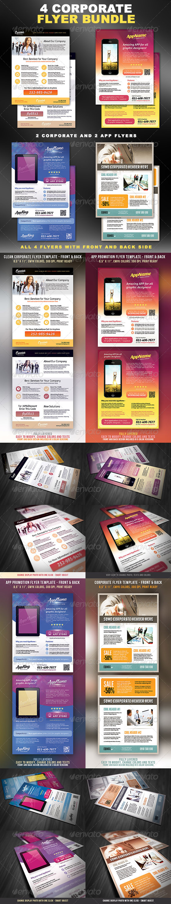 Corporate Flyers Bundle - 4 in 1 - Corporate Flyers
