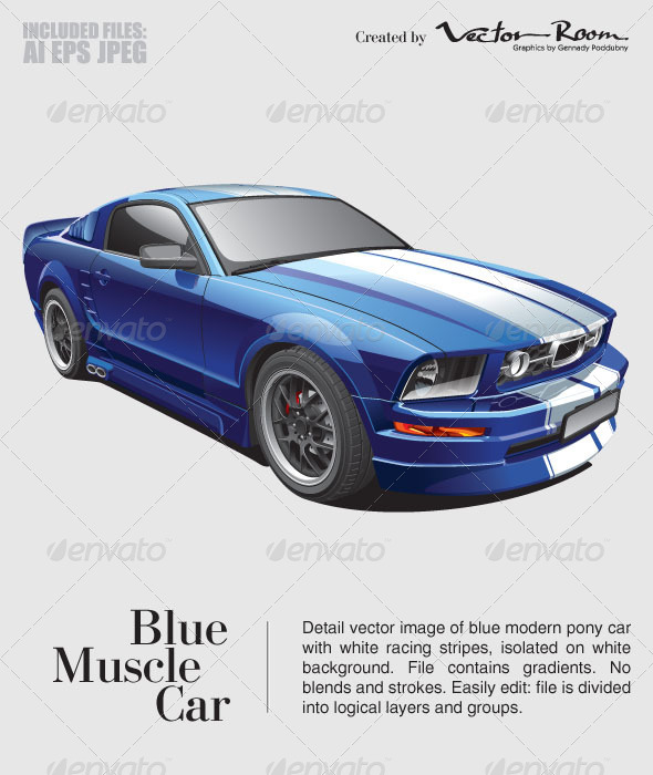 GraphicRiver Blue Muscle Car 5332640
