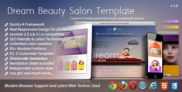 Dream - Beauty Salon Responsive Joomla Template - Health & Beauty Retail