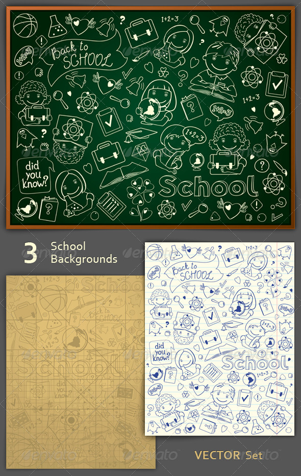 GraphicRiver School Backgrounds Set 5334329
