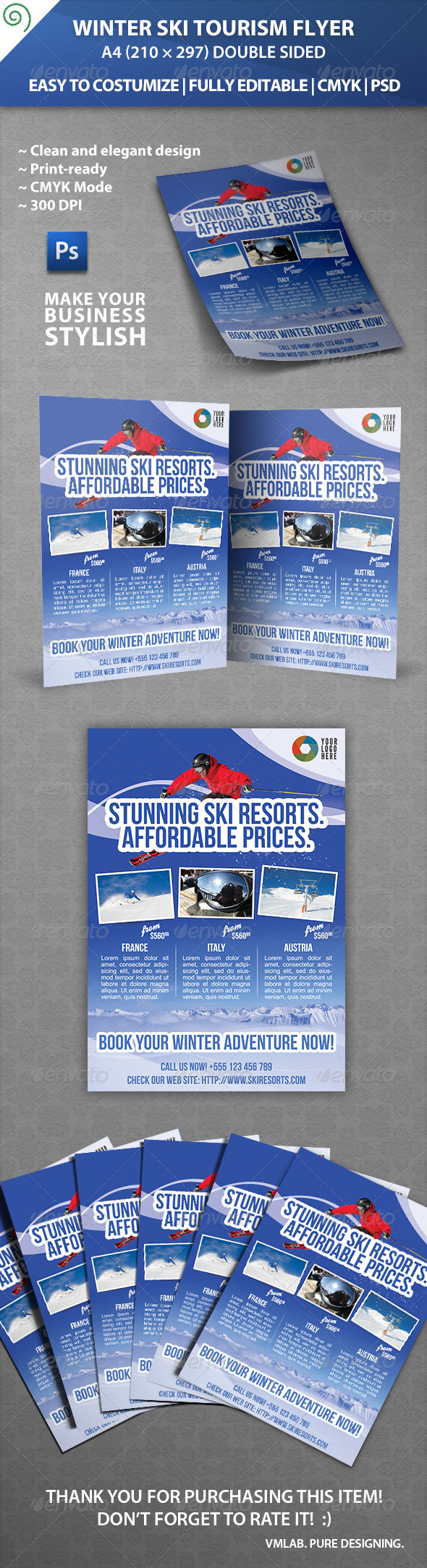 GraphicRiver Winter Ski Tourism Flyer 5335083