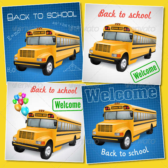 Set of Cards With School Bus - Miscellaneous Vectors