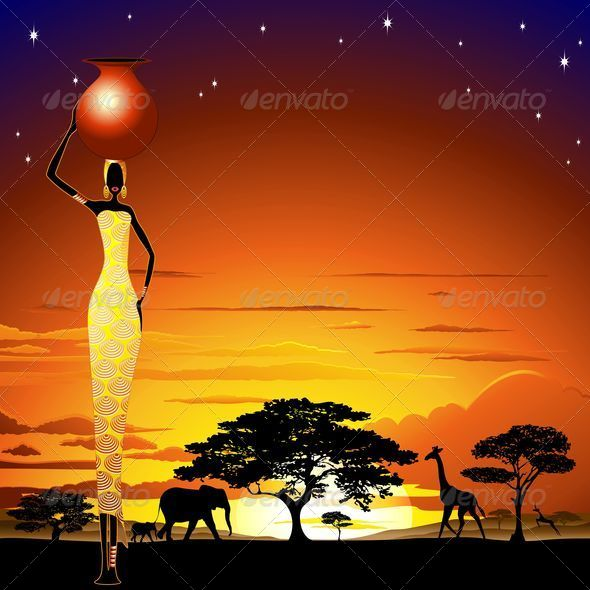 GraphicRiver African Woman on Wild Savannah Sunset 5337599