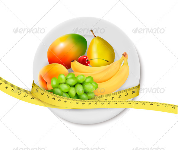 GraphicRiver Diet Meal Fruit in a plate with measuring tape 5337989