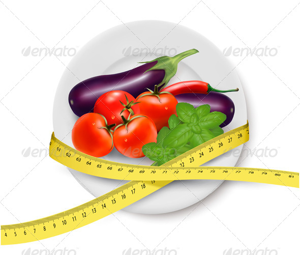 GraphicRiver Vegetables in a Plate with Measuring Tape 5337990