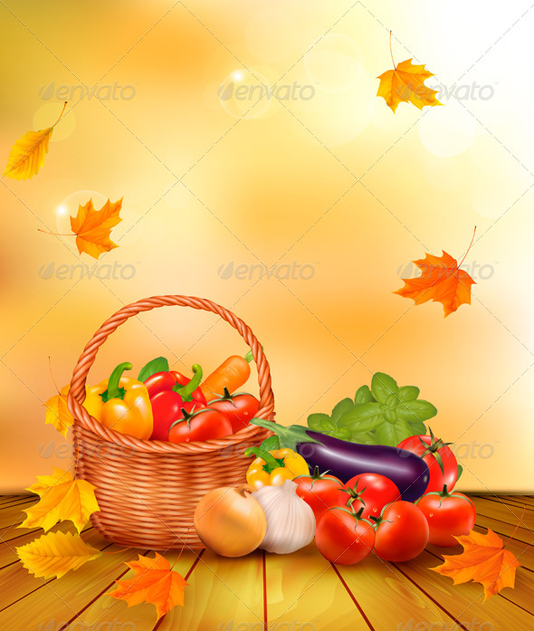 GraphicRiver Autumn Background with Fresh Vegetables in Basket 5338014