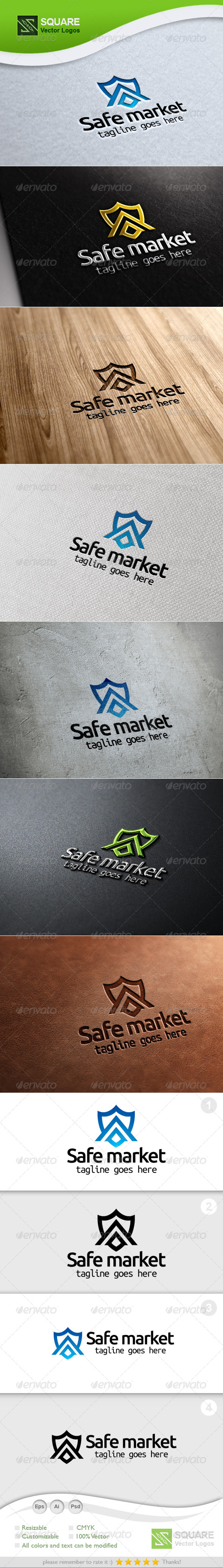 GraphicRiver Shield Market Vector Logo Template 5338946