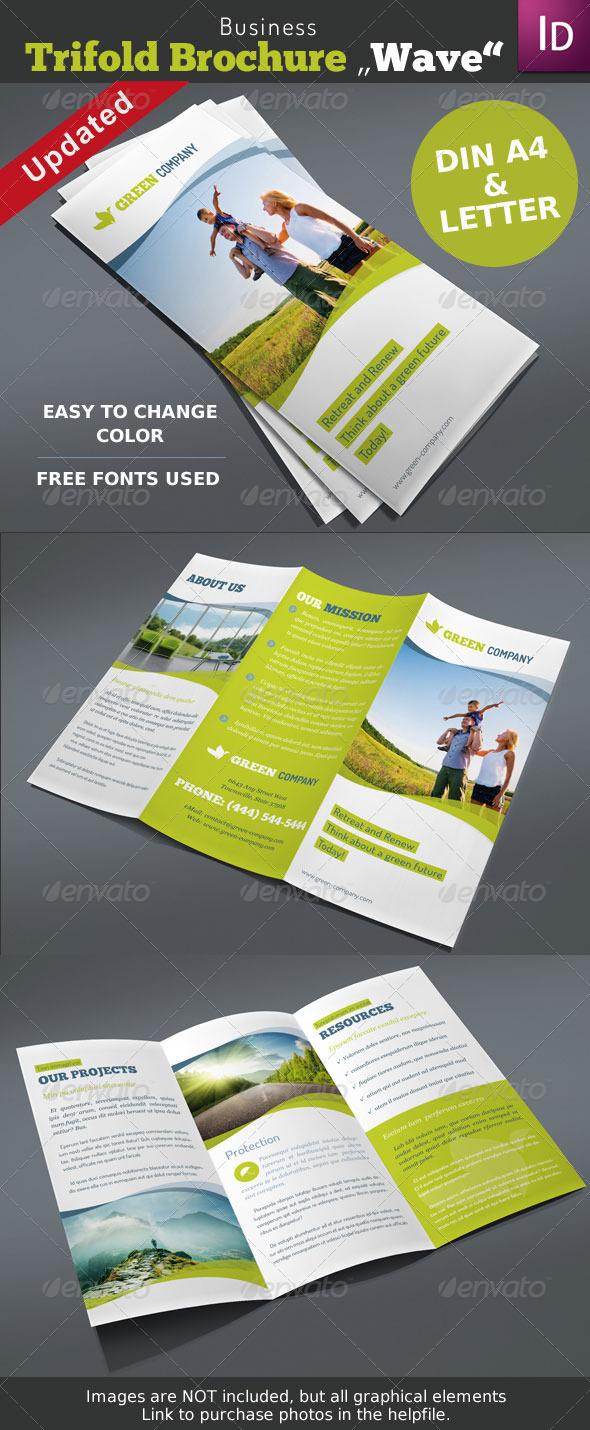 "Business Trifold Brochure ""Wave"" - Corporate Brochures"