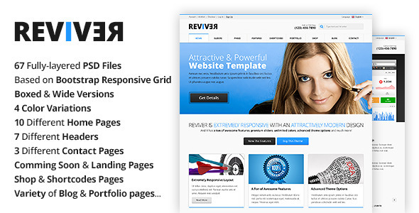 Reviver is a multi-purpose PSD template that was designed with responsiveness in mind. It will perfectly suit for any type of business due its modern, clean an