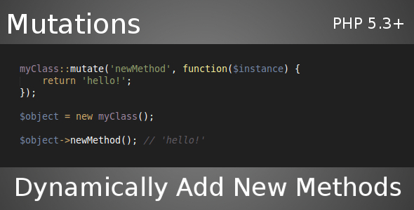 CodeCanyon Class Mutations Dynamically Add Methods 5340417
