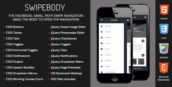 Swipebody Mobile Retina | HTML5 & CSS3 And iWebApp - Mobile Site Templates