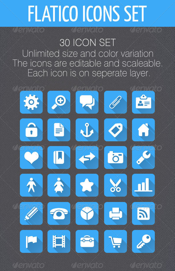 GraphicRiver Flatico 30 Flat Icons Set 5340848