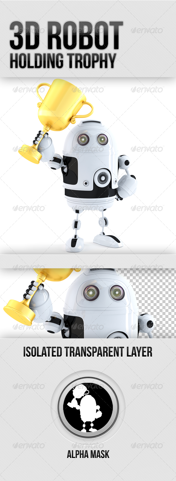 GraphicRiver Cute Robot holds golden trophy 5341044