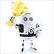 Cute Robot holds golden trophy - GraphicRiver Item for Sale