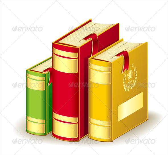 GraphicRiver Tree Books Gold Red Green Colors with Bookmarks 5341057