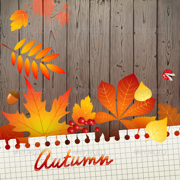 GraphicRiver Background with Autumn Leaves 5341147