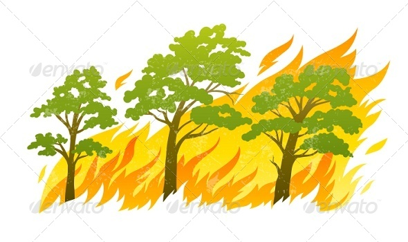 GraphicRiver Burning Forest Trees in Fire Flames 5343967