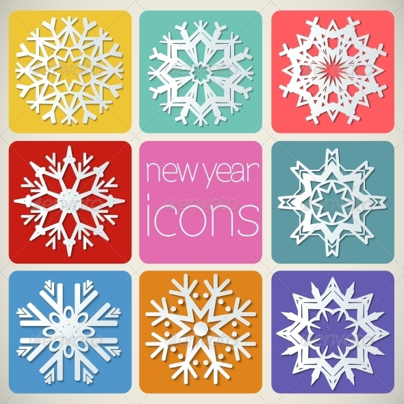 GraphicRiver New Year Icons Set of Snowflakes 5344339