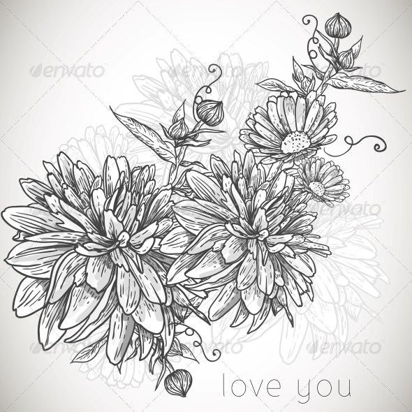 GraphicRiver Floral Monochrome Background 5344487
