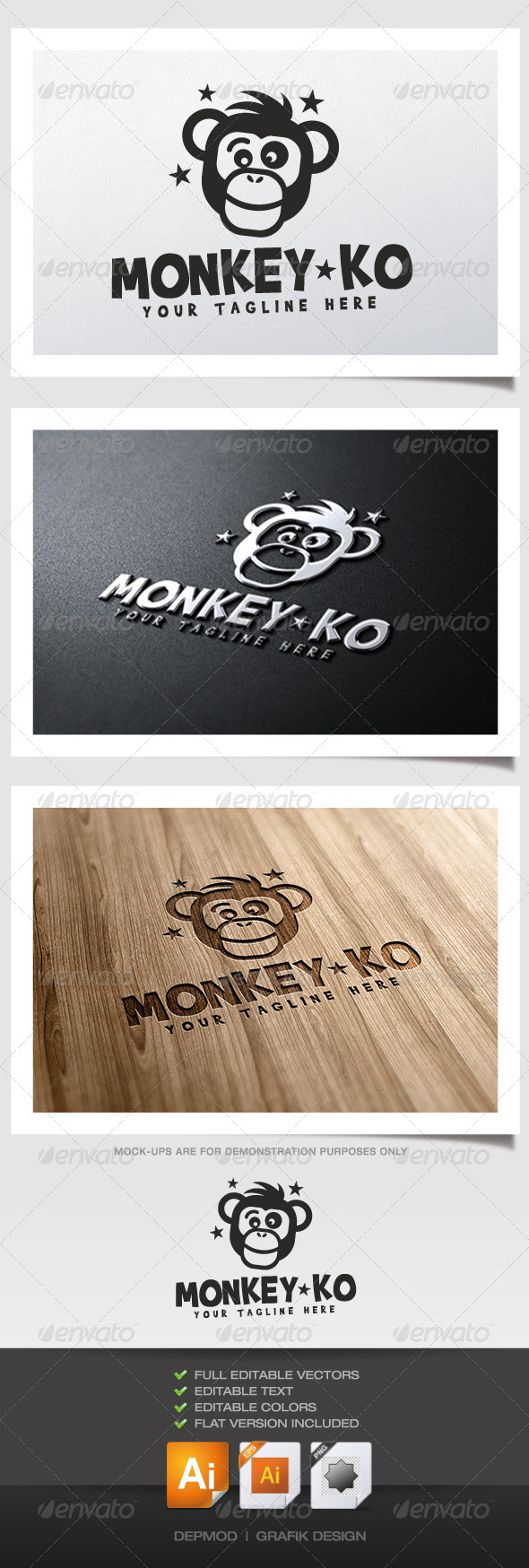Monkey KO Logo - Animals Logo Templates
