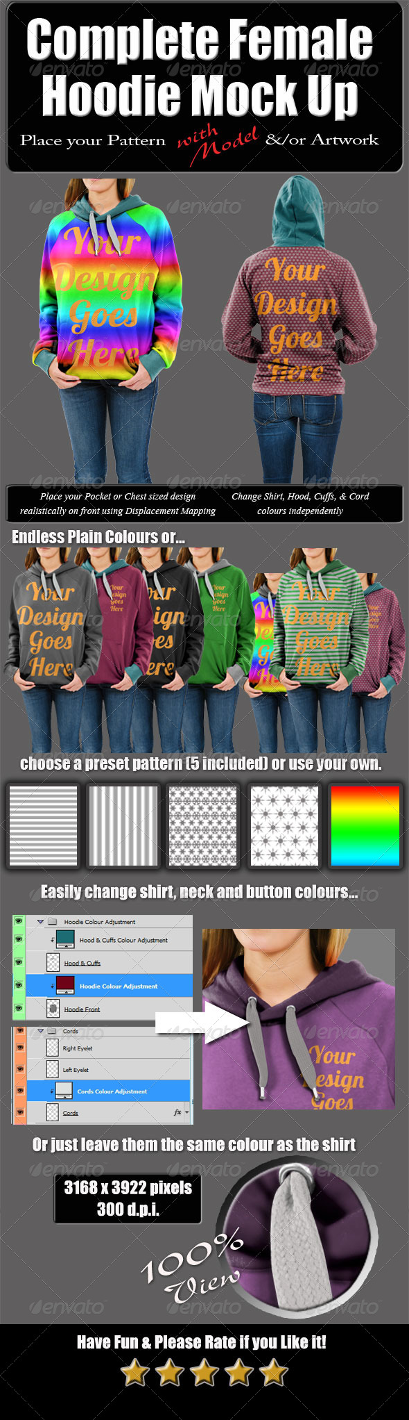 GraphicRiver Complete Female Hoodie Mock Up with Model 5296914
